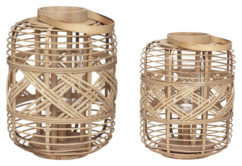 Hübsch Lanterne i bambus, natur, s/2
