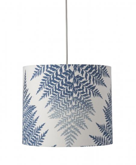 Ebb&Flow - Lampeskærm, fern leaves graphic, indigo, Ø35