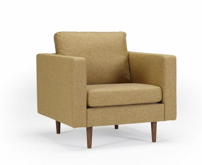 Kragelund Obling lænestol Gul - Helpolstret lænestol med ben i valnød