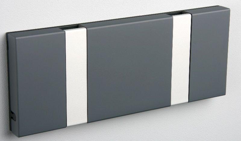 KNAX knagerække - Antracit - 2 aluknager - Knagerække med 2 aluminiumsknager