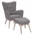 Palmetto Lænestol med skammel - Grå/brun Uld