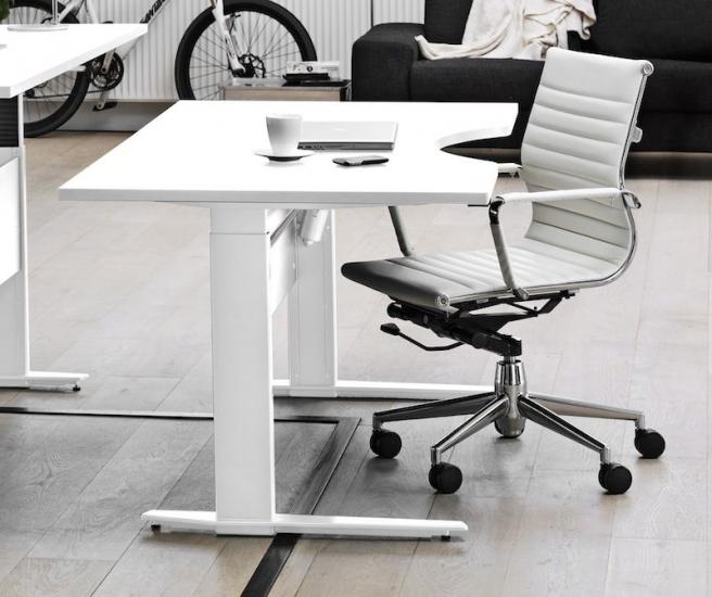 Prima Skrivebord m. bue, Hvid/hvid, 180cm