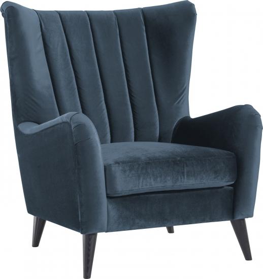 Lunde Lænestol - blå m. sorte ege ben