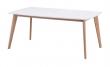 Olivia Spisebord - Hvid/Eg - 150x90 - Hvidt spisebord med ben i lakeret eg - 150 cm