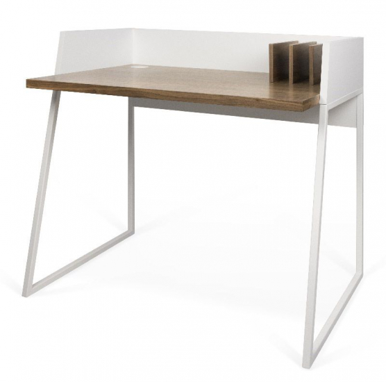 Temahome - Volga Skrivebord - Hvid - Valnød - Skrivebord i karakteristisk design