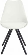 Brenda Spisebordsstol Hvid PU og sorte ege ben