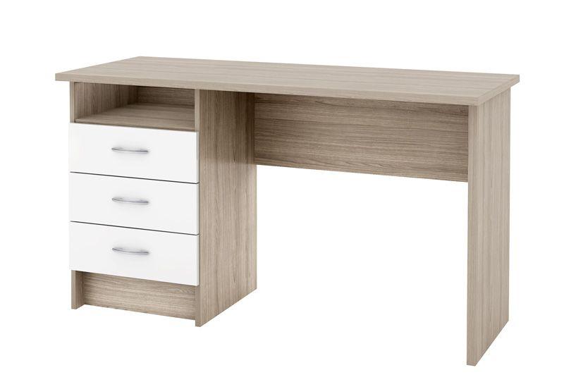 Function Skrivebord - Skrivebord i egetræs-look m hvid låger