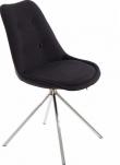 Dylan Spisebordsstol Gråt stof med krom ben   - Grå spisestuestol med sædepude