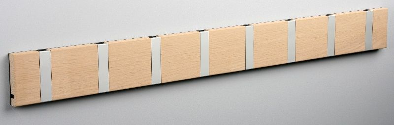 KNAX knagerække - Eg - 8 aluknager - Knagerække med 8 aluminiumsknager
