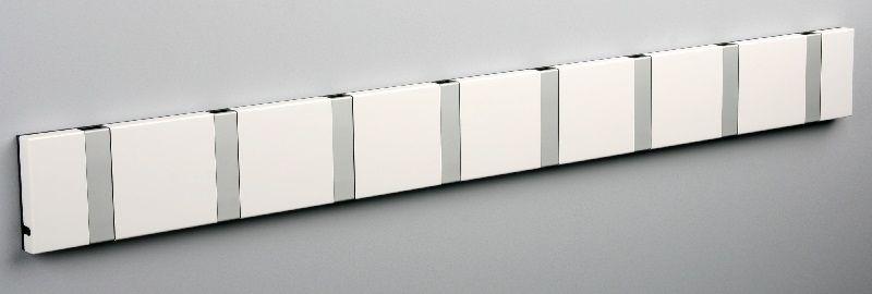 KNAX knagerække - Hvid - 8 aluknager - Knagerække med 8 aluminiumsknager