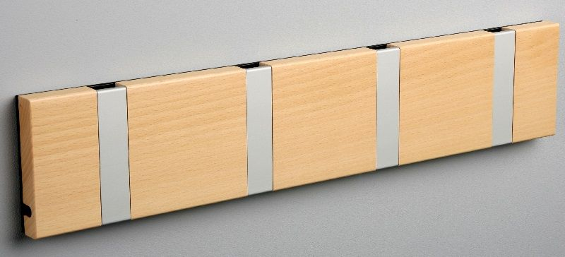 KNAX knagerække - Bøg - 4 aluknager - Knagerække med 4 aluminiumsknager