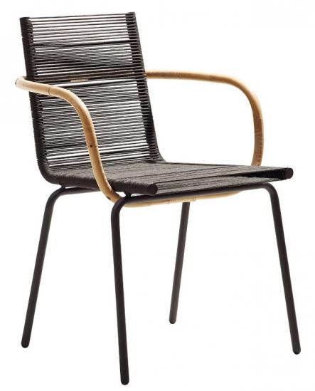 Cane-line - SIDD Spisebordsstol m/arm - Brun - Cane-line Brun spisebordsstol