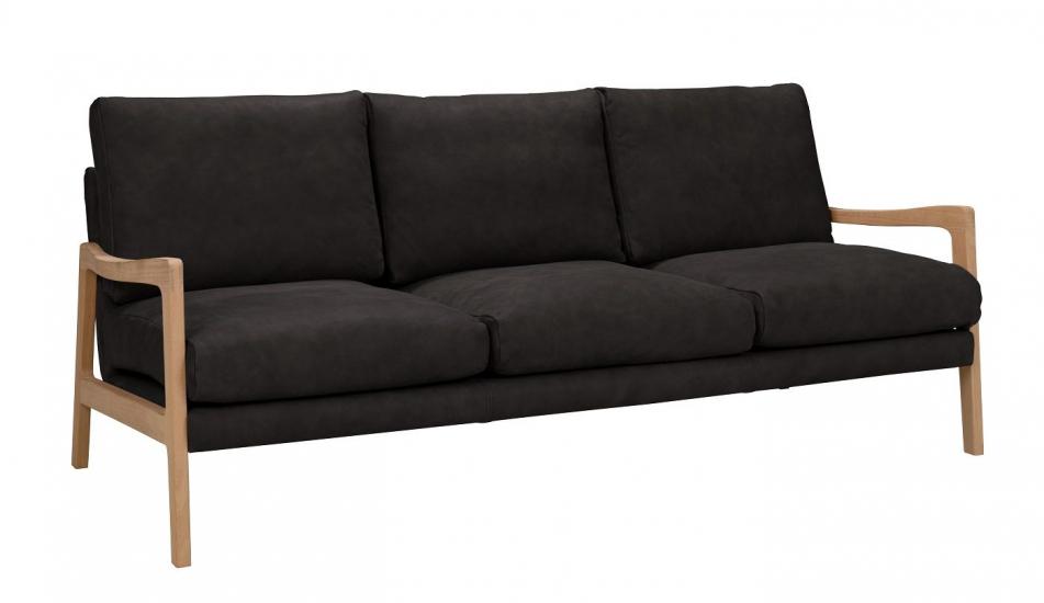 Solo 3-pers. Sofa m. ege ben - Sort Læder