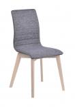 Gracy Spisebordsstol, Grå stof, Lyse ege ben - Spisebordsstol med gråt stofsæde