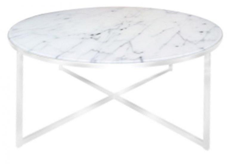 Filippa Sofabord - Hvid marmorprint Ø80 - Rundt sofabord i frostet glas