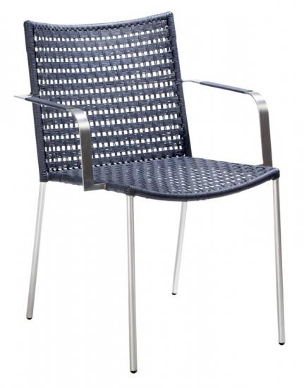 Cane-line - Straw flat Spisebordsstol m/arm - Sort - Cane-line flat weave - indendørs