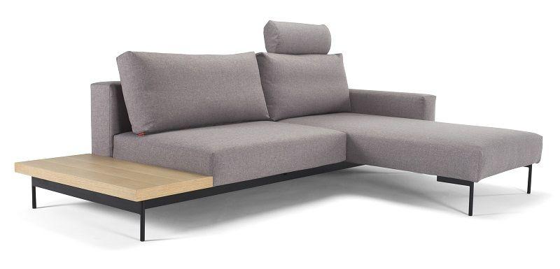 Innovation Living - Bragi Sovesofa m/bord - Grå - Grå sovesofa med sidebord