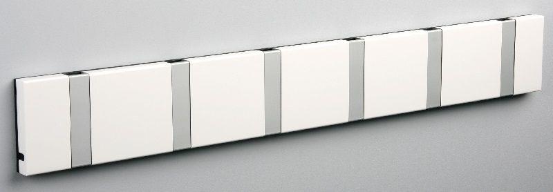 KNAX knagerække - Hvid - 6 aluknager - Knagerække med 6 aluminiumsknager
