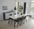 Copenhagen Spisebord hvid m sorte ben 195/285x90