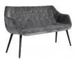 Nordal - Sofabænk i grå velour - Sorte ben