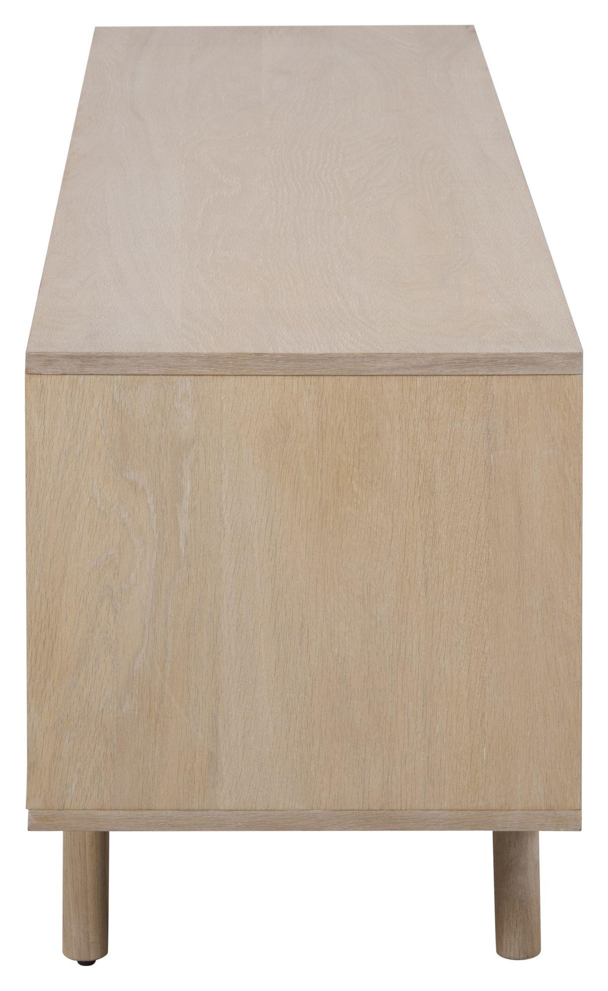 Aliva Tv-bord - Hvidpigment ege finér - TV-bord med skydelåger