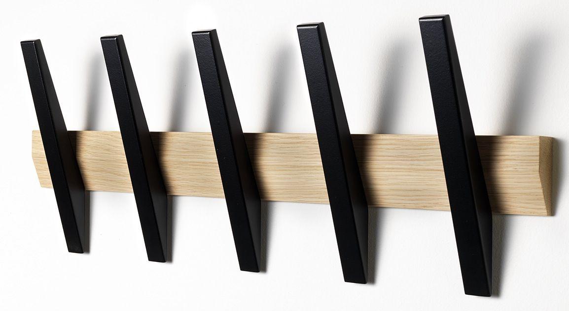 Hoigaard - Tangent 5  Knagerække - Eg - vælg selv farve på knager