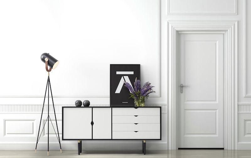 Andersen S6 Skænk, Sort lak, Hvid