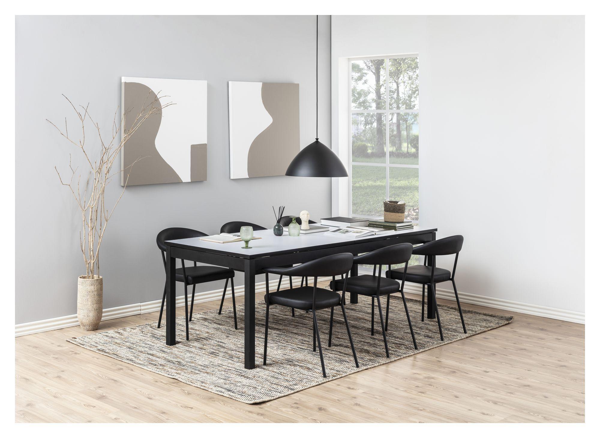 Asli Spisebordsstol m/armlæn - Sort PU
