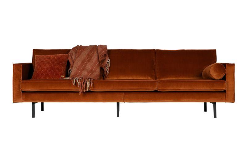 Rodeo 3 pers. sofa velour - Rust