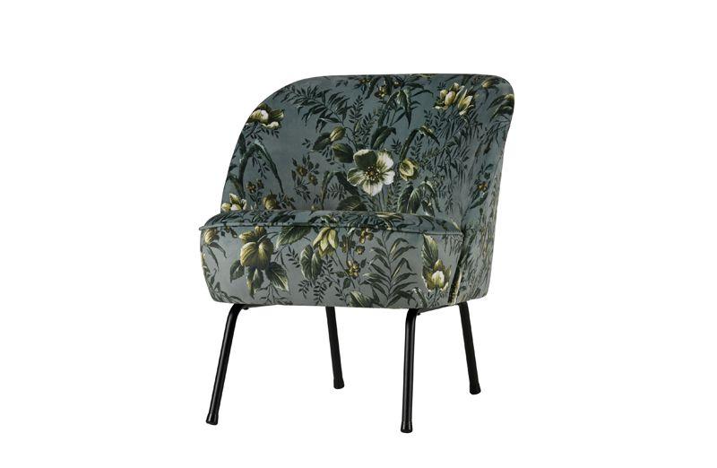 Vogue Loungestol Velour - Grå blomsterprint