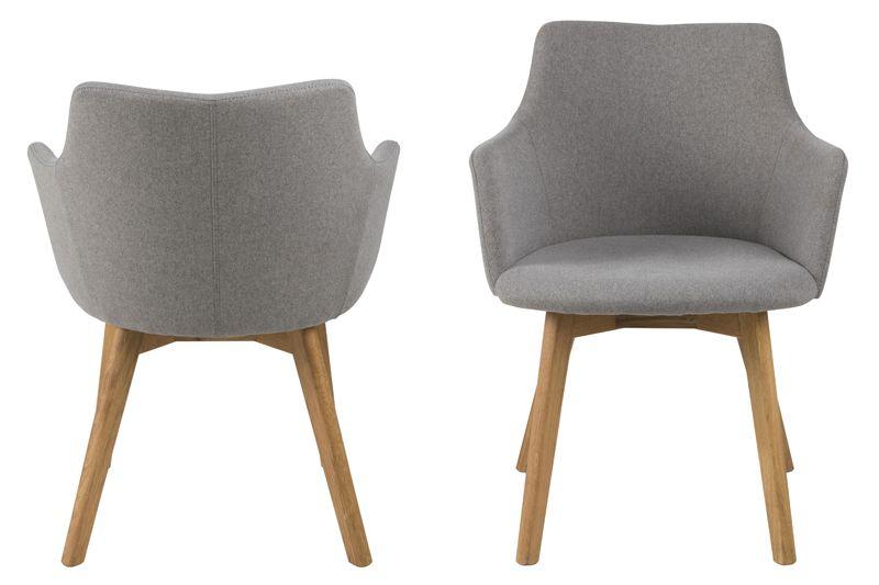 Bess Spisebordsstol m/armlæn - Lysegrå