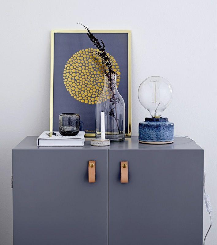 Bloomingville Bordlampe - Blå porcelæn - Bordlampe i porcelæn