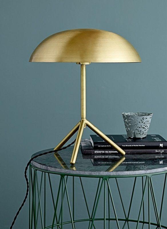 Bloomingville Bordlampe - Guld - Ø35 - Bordlampe i børstet guld