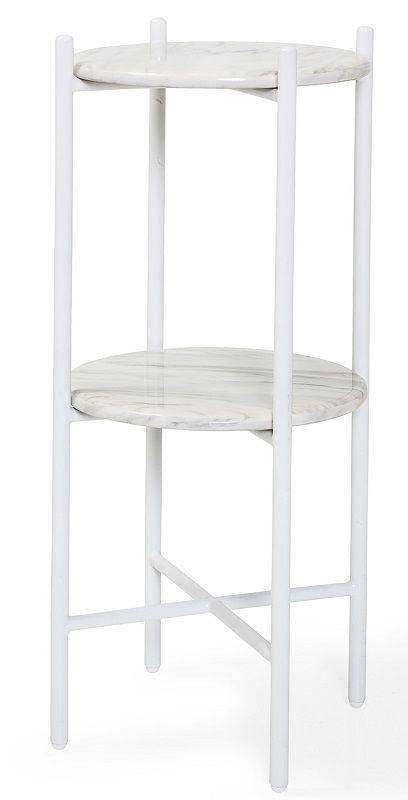 Bloomingville Earth Piedestal - Hvid - Hvid piedestal med limestone