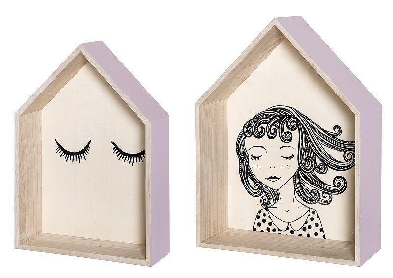 Bloomingville Sættekasse - Natur - 2 stk settekasser med illustrasjoner