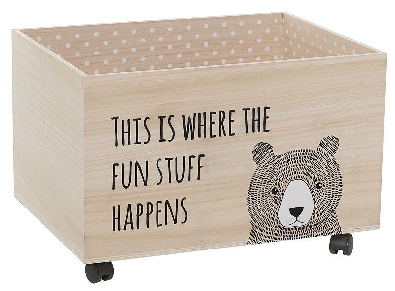 Bloomingville Mini Børnetilbehør - Lystræ - Oppbevaringskasse med barnemotiver