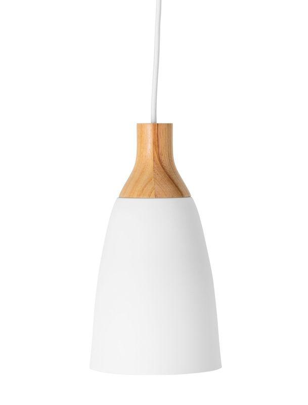 Bloomingville  Pendel - Hvid m. Eg -  Ø16 - Hvid pendel