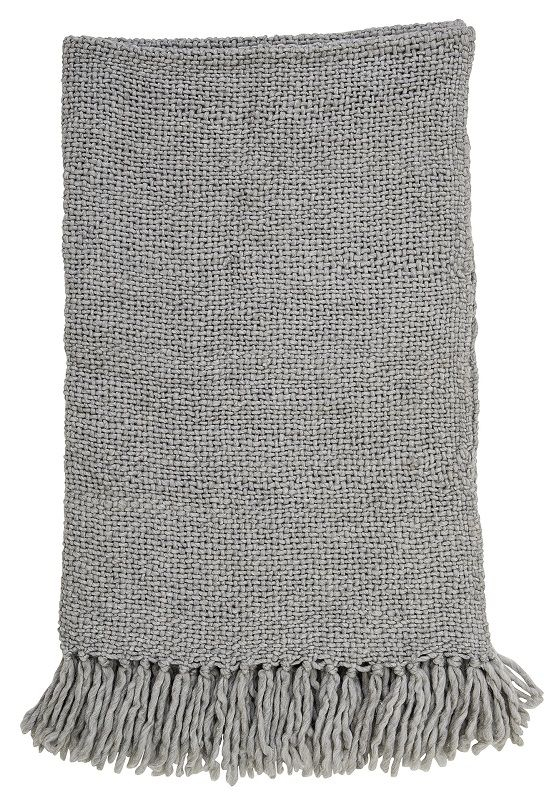 Bloomingville Plaid - Grå med frynser - Uldplaid 130x170 cm
