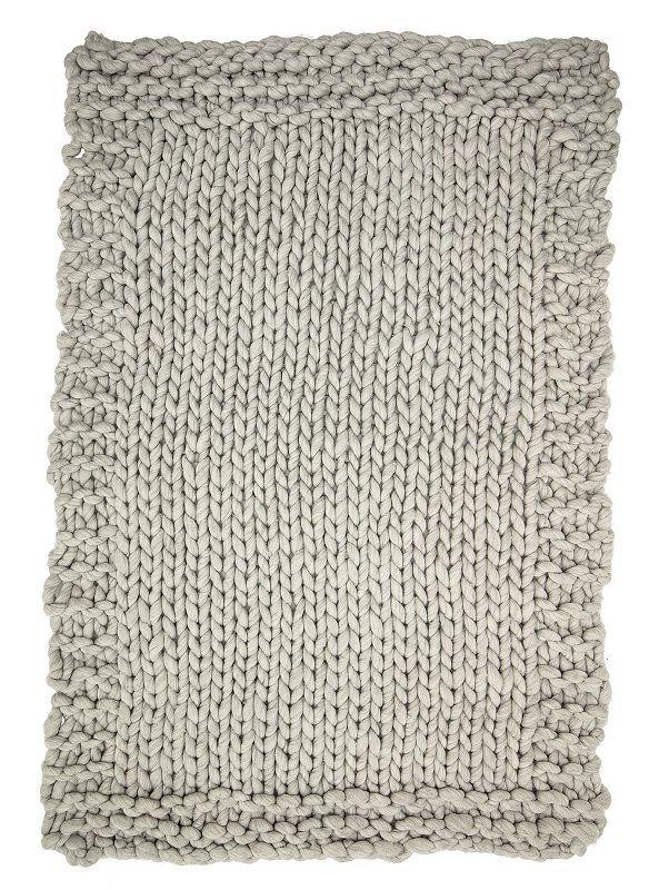Bloomingville Plaid strikket - Lys grå - Strikket plaid i grå