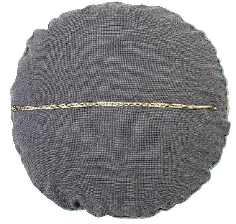 Bloomingville Pude - Grøn Velour - rund - Rund pude Ø45 cm