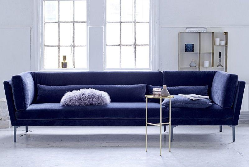 Bloomingville Rox 3-pers. sofa - Blå - Sofa i blå velour