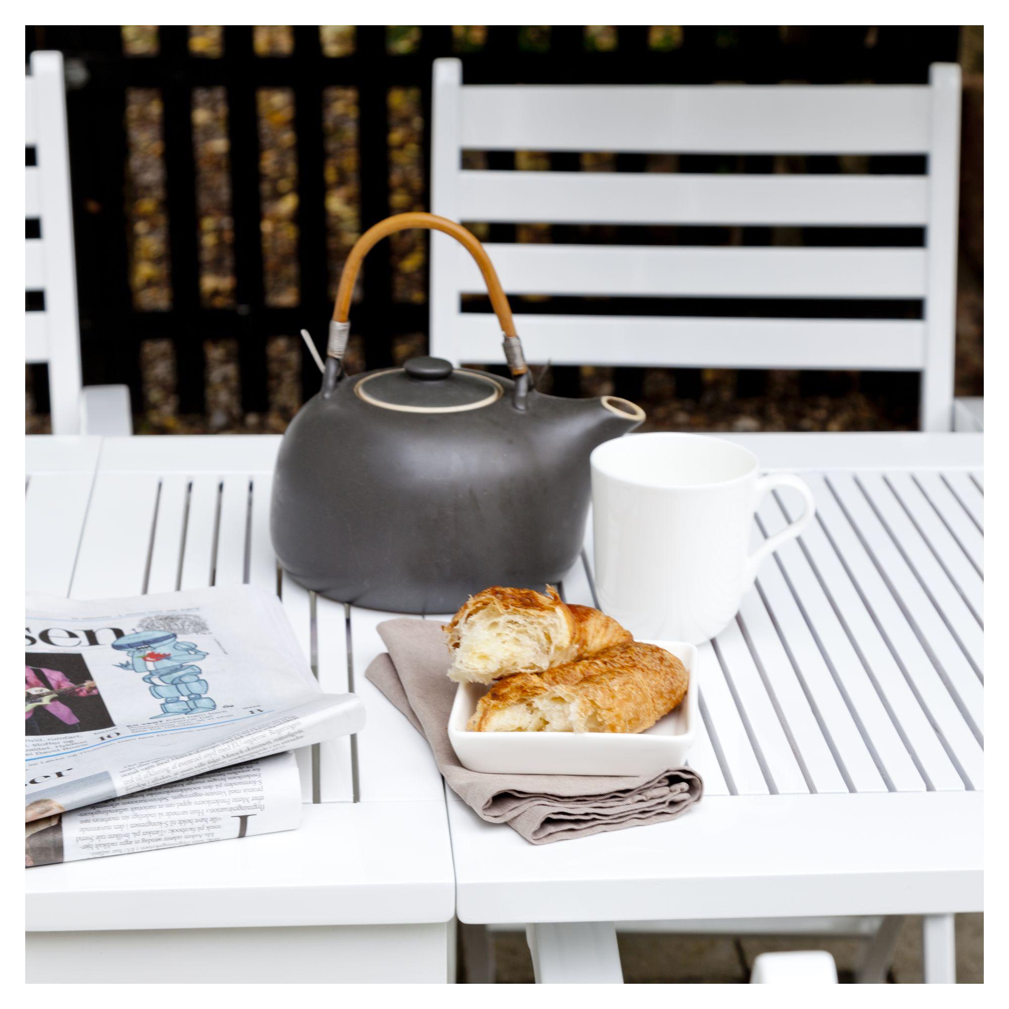 Cinas Butterfly/York Havemøbelsæt - Hvid - Sæt med bord & 4 stole