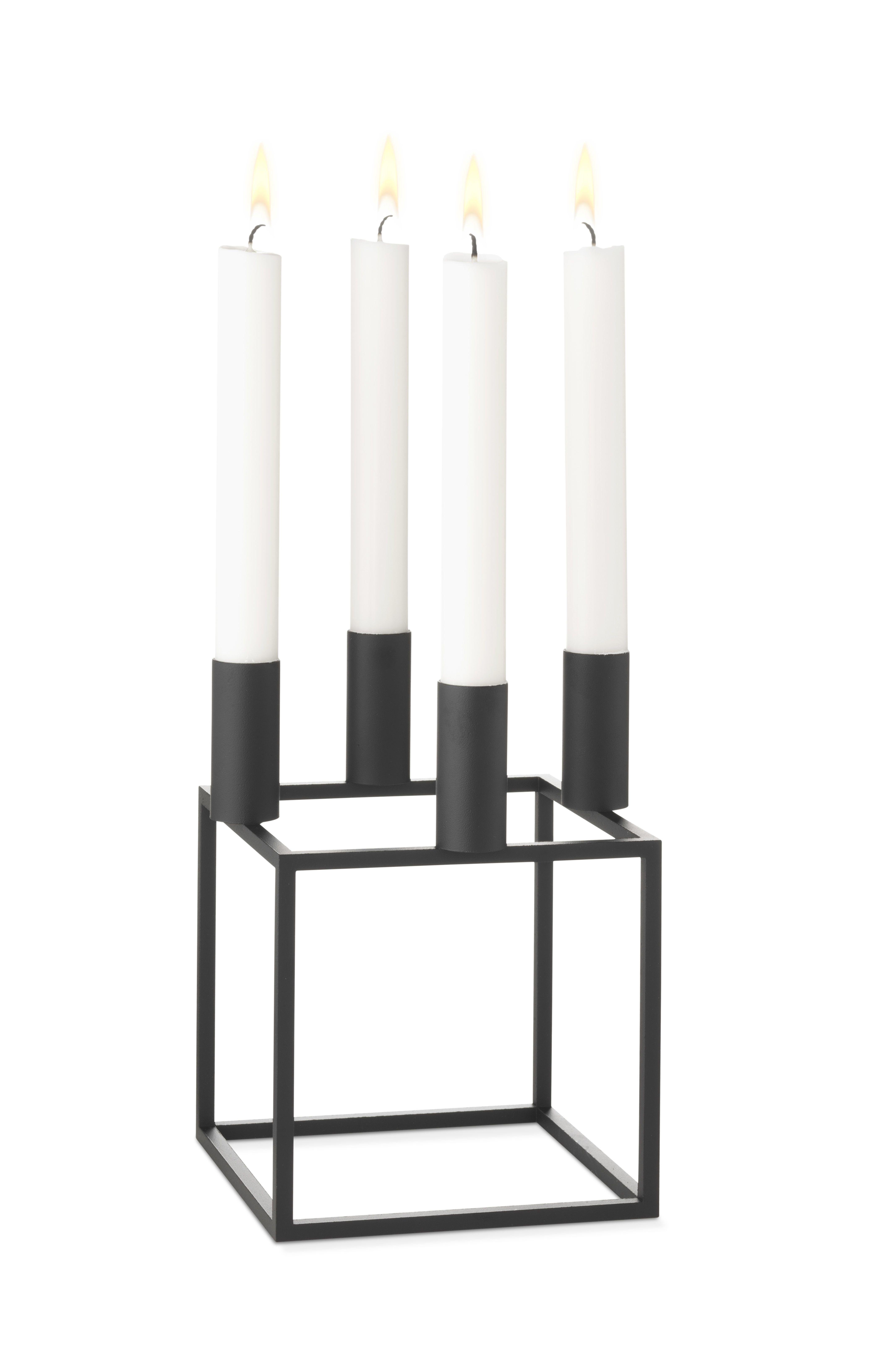 by Lassen - Kubus 4 Lysestage - Sort - Sort lysestage til fire lys