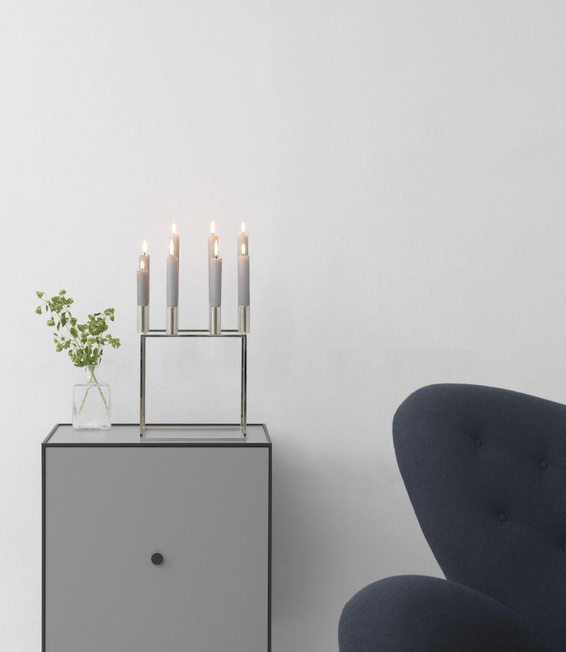 by Lassen - Kubus 8 Lysestage - Nikkelbelagt - Lysestage til otte lys