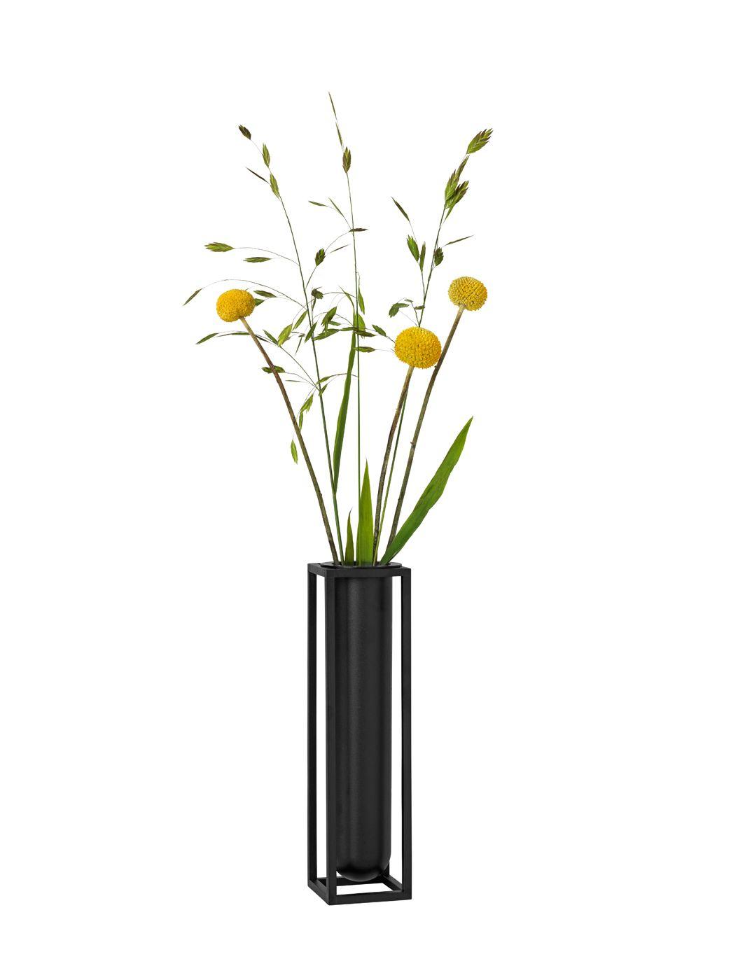 by Lassen - Kubus vase Flora, Sort
