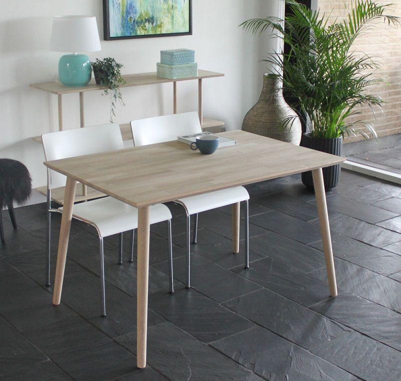 Furnliving Arendal Spisebord 120x80 - Eg - Spisebord i hvidtonet massiv træ