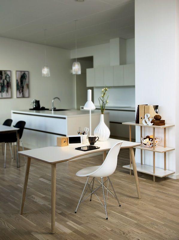 Dallas Skrivebord - Hvid - Hvidt skrivebord med bue