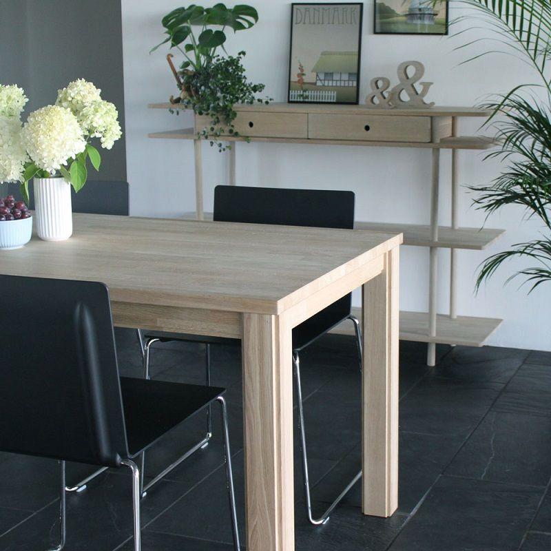 Furnliving Moss Spisebord 160x80 - Eg - Hvidt sæbebehandlet spisebord