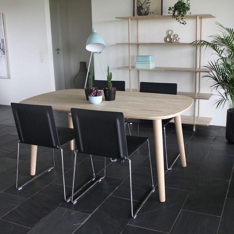 By Tika Stockholm Spisebord 160x90 - Eg - Spisebord i hvidtonet eg