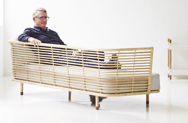 Cane-line - Sense 3-pers. sofa - Grå - Cane-line 3-personers sofa i rattan